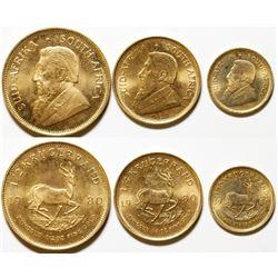 Fractional Set of 1980 South African Gold Krugerrands Uncirculated