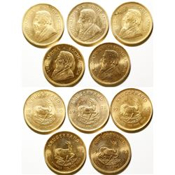 Five One-ounce South African Gold Krugerrand Coins