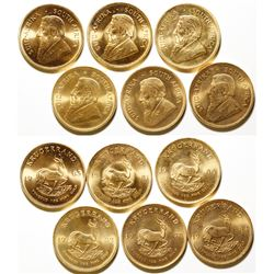 Six One-ounce South African Gold Krugerrand Coins