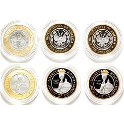 Three 2000 Library of Congress Bimetallic Gold-Platinum Coins