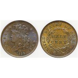 1835 Half Cent MS 64 BN