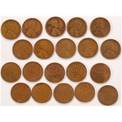 Ten 1922-D Wheat Pennies