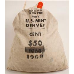 Unc. 1969 D Pennies (~5,000) in Original U.S. Denver Mint Dated Bag