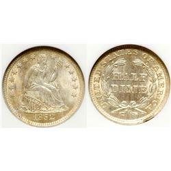 1852 Half Dime, MS 63
