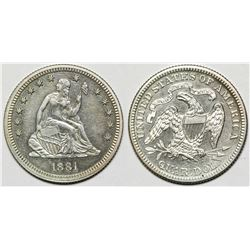 1881 Seated Quarter Proof