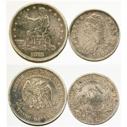 Bust Half Dollar and Trade Dollar