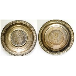 1891 CC Dollar in Small Silver Tray