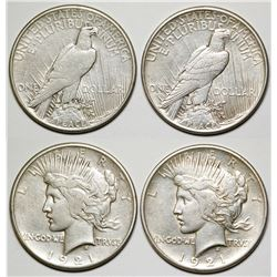Two 1921 Peace Dollars
