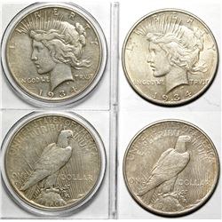 Two 1934 Peace Dollars