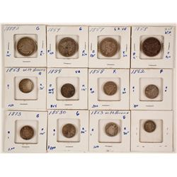 Twelve Liberty Seated Coins