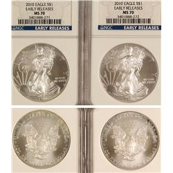 Two MS70 2010 Silver Eagles