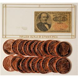 Twenty Copper Ounce Pieces and Fractional Currency