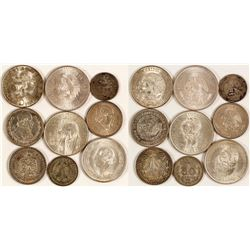 9 Mexican Silver Coins