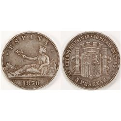 1870 Silver 5 Pesetas