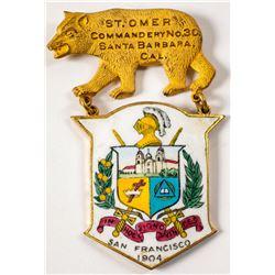 Santa Barbara Cloisonne style Breast Badge