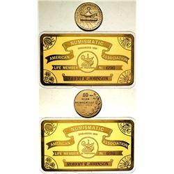 ANA 50 Year Gold Pin & Metallic Membership Card