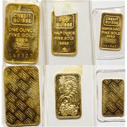 3 Credit Suisse Gold Bars 1, 1/2, 1/4 Tr Oz