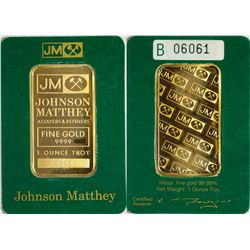 Johnson-Matthey 1 Tr Oz 9999 Gold Bar