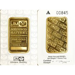 Low Serial Number One-Ounce Johnson-Matthey Gold Bar