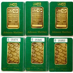 Three Johnson-Matthey One-Ounce Gold Bars