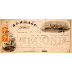 D.O. Mills & Co. Second of Exchange, Gold Coin, Sacramento, 1865