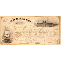 D.O. Mills & Co. Second of Exchange, Sacramento, 1860
