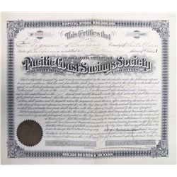 Pacific Coast Savings Society of San Francisco Stock Certificate