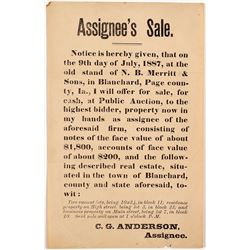 1887 Broadside Re: Sale of Bank Notes
