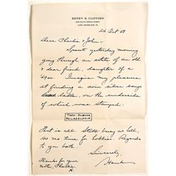 Letter from Henry H. Clifford Re: Silver Coin Ladle
