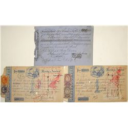 Three Mexican Exchanges (Two w/ Mexican Revenue Stamps)