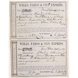 Wells Fargo Receipts (bags of gold dust) from Hardy & Kennedy to Fritz & Ralston