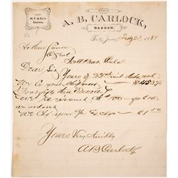 Wells Fargo Agent Letterhead, Fort Jones, CA, 1881
