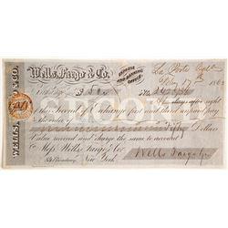 Wells Fargo & Co. Second of Exchange, La Porte, CA, 1862