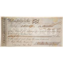 Wells Fargo & Co. Second of Exchange, Nevada City, CA, 1859