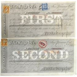 Two San Francisco Wells Fargo Exchanges w/ California Revenue Stamps