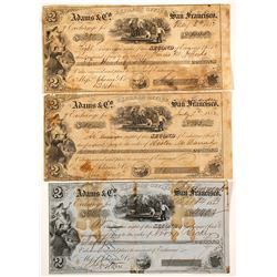 Three Different California Adams & Co. Gold Rush Exchanges