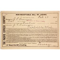 Pacific Express Bill of Lading, Salt Lake City to Coalville