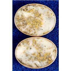 Gold in Quartz Ovals Set in Gold