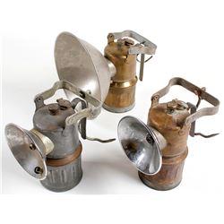 3 Different Justrite Carbide Superintendent Lamps