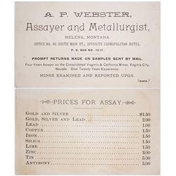 A.P. Webster, Assayer, Business Card