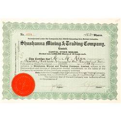 Shushanna Mining & Trading Co. Stock Certificate--Scam!