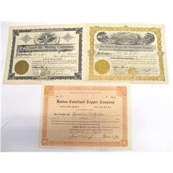 Three Courtland Mining District Stock Certificates