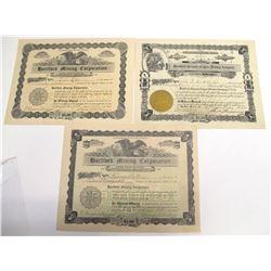Hartford District Mining Stock Certificate Trio