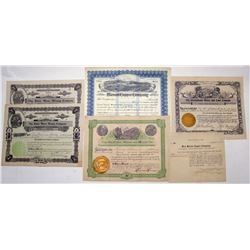 Stock Certificates from 5 Different Cochise Co. Mining Districts