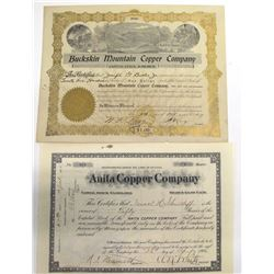 Two Coconino County Mining Stock Certificates