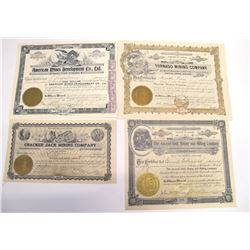 Four Different Gila County Mining Stock Certificates