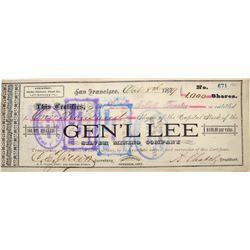 General Lee Silver Mining Co. Stock Certificate, Globe