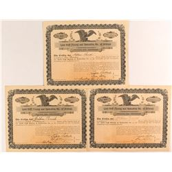 Three Rare Gold Cliff Mining & Reduction Co. Stock Certificates