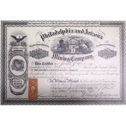 Philadelphia & Arizona Mining Co. Stock Certificate, Wauba Yuma District