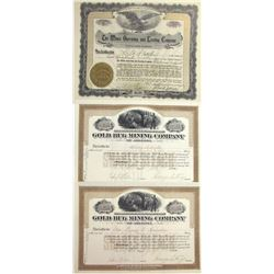Three Chloride District, Mohave Co., Arizona Mining Stock Certificates